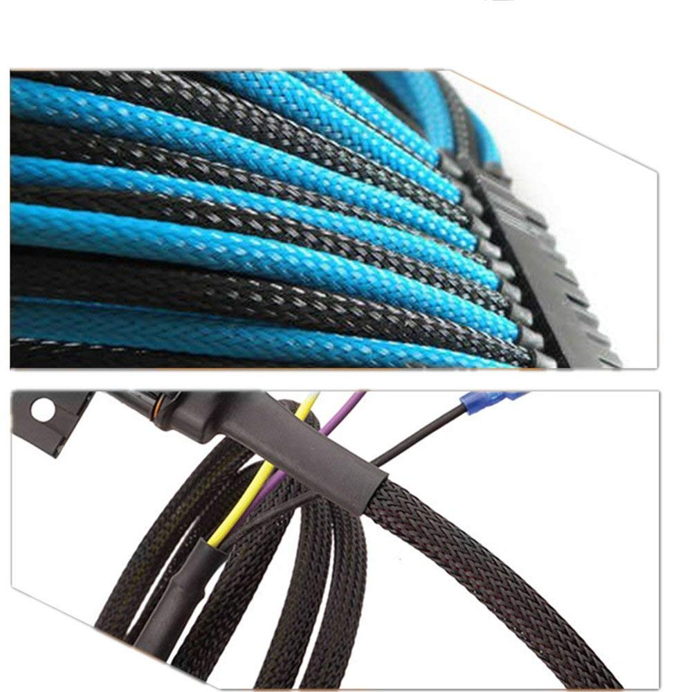 1-9//16(40mm)Expandable Braided Electical Insulation Sleeving PET Material Flexibility Blcak 20ft