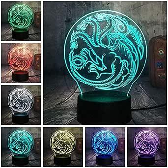 Lámpara de ilusión de luz nocturna Lámpara de juego de tronos Canción de hielo y fuego House of Targaryen 3D RGB Led USB Lámpara de mesa Decoración para el hogar Regalo de