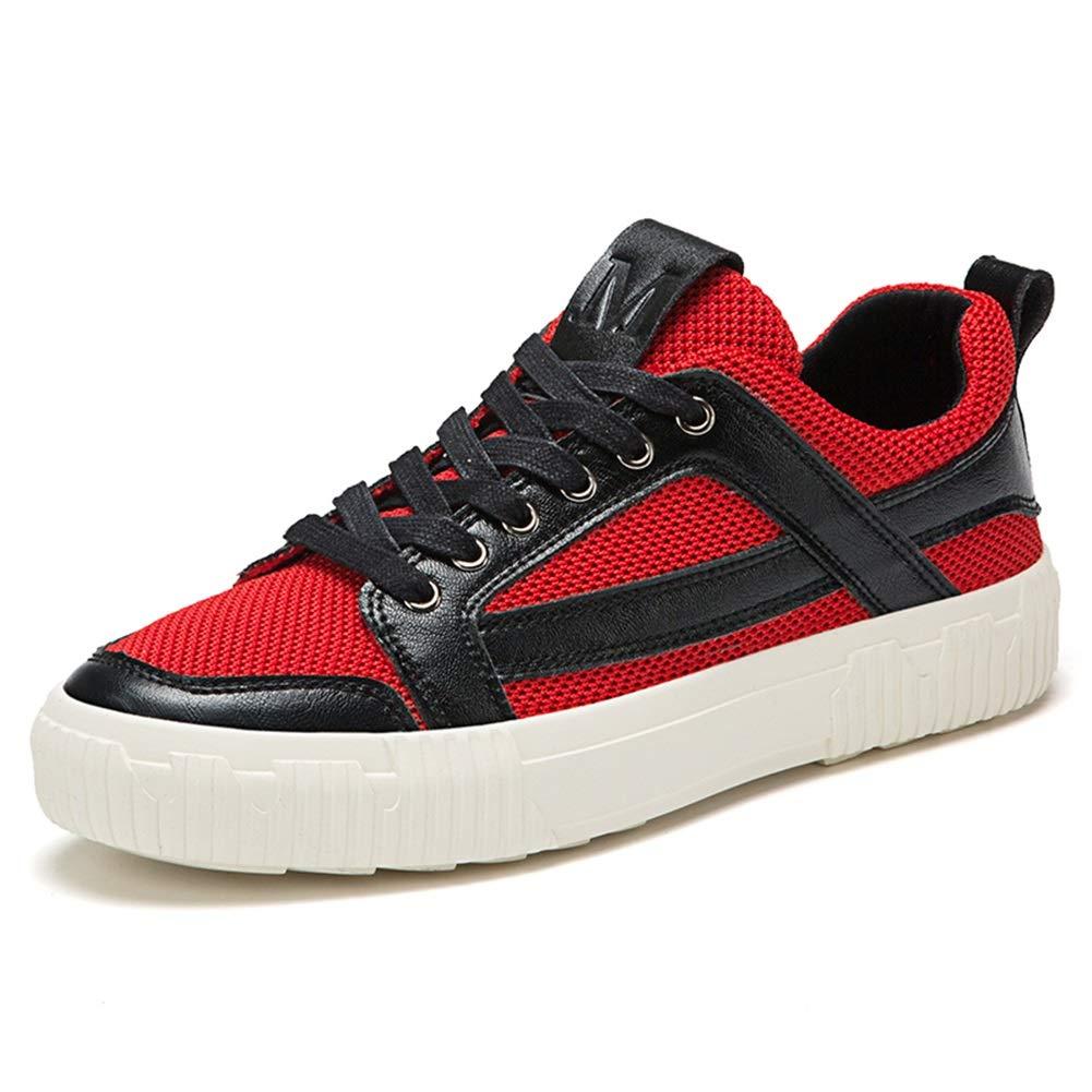 CAI Männer Mesh Loafers Schuhe Frühling/Herbst Comfort Turnschuhe Niedrig-top/Lace-up Loafers Schuhe Männer Täglich/Reisen Freizeitschuhe (Farbe : Rot, Größe : 42)