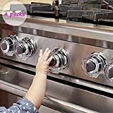 LSD Clear View Stove Knob Covers Healthy Baby Care Kit-Children Safety Switch Guard for Kitchen Stove-Dustproof,Heat-Resistant,4 Count