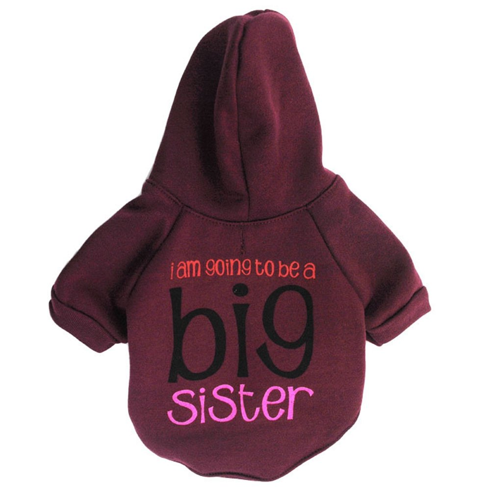 Red M Red M GINBL Pet Small Dog Big Sister Print Hoodie for Cute Dogs Sweatshirt Puppy Winter Costume Hoodies