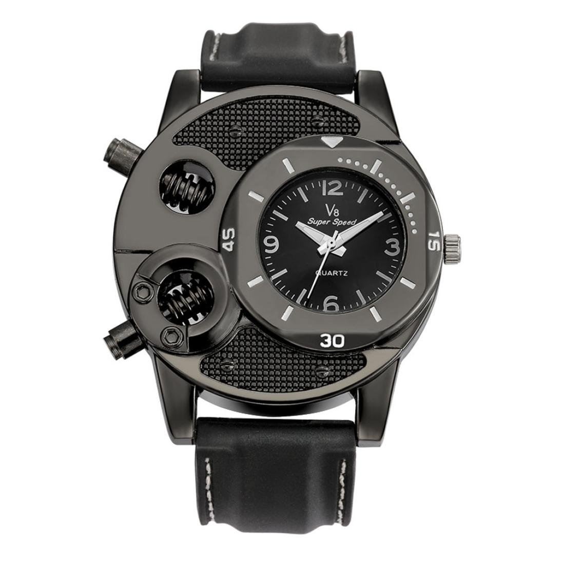 3c7b8091c1a Amazon.com  Han Shi Hot Sale Men s Quartz Watch Fashion Business Round  Sports Wristwatch (Black