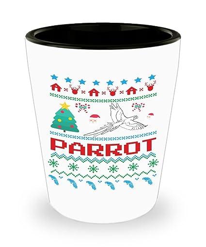 Amazoncom Parrot Ugly Christmas Sweater Shot Glass Sayings