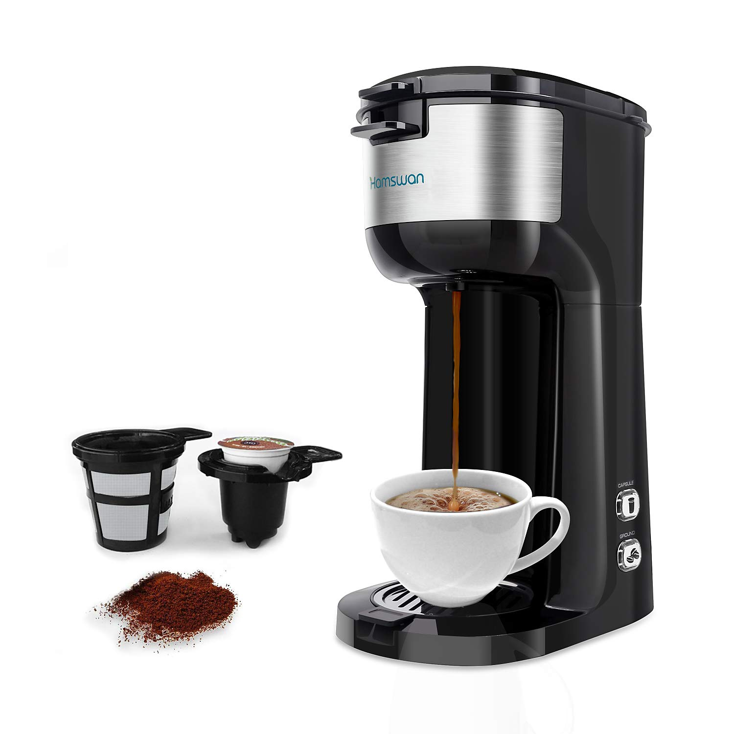 Single Serve Coffee Maker, HAMSWAN K Cup Coffee Maker for K-Cup Pod & Ground Coffee, Coffee Machine with Self Cleaning Function by HAMSWAN