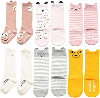Unisex Baby Girls Socks, YJWAN 6 Pairs Toddler Anti Skid With Grips Knee High Socks (M, 6 Pairs-mix Color)
