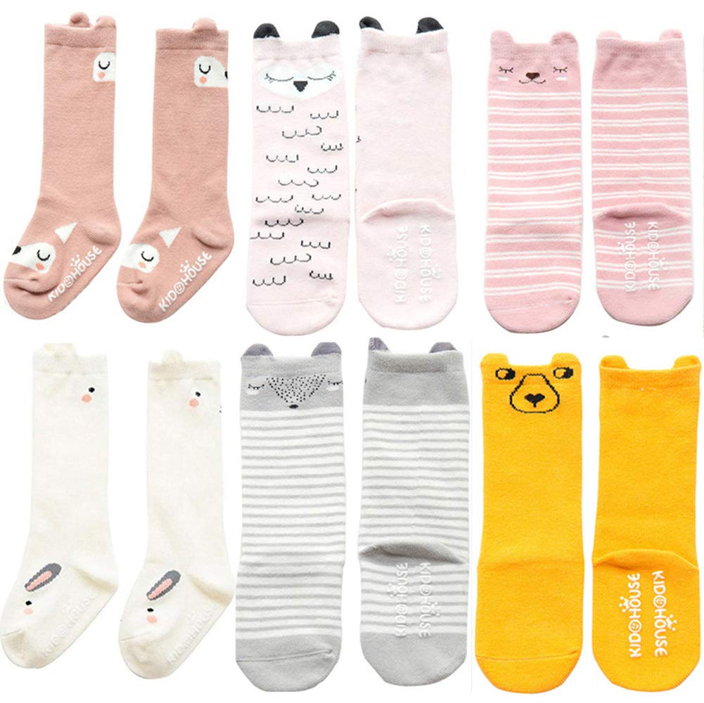Unisex Baby Girls Socks M, 6 Pairs-mix Color YJWAN 6 Pairs Toddler Anti Skid With Grips Knee High Socks