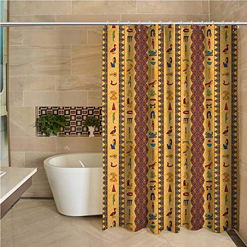 Lohebhuic Egyptian Precision Custom Shower Curtain Ancient Hieroglyphs and Floral Geometric Ornament Border Aged Paper Style Backdrop Modern Bathroom Decoration W95 x L70 Inch Multicolor (Toilet Paper Mlb)