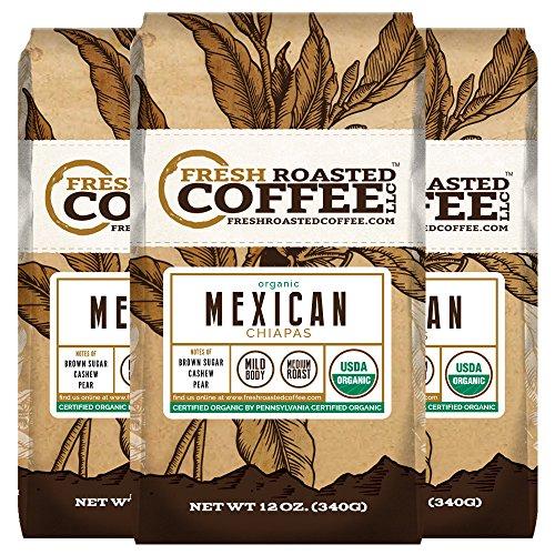 Organic Mexican Chiapas Coffee, 12 oz. Ground Bags, Fresh Roasted Coffee LLC. (3 Pack)