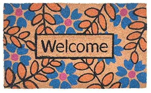 J&M Home Fashions Natural Coir Coco Fiber Non-Slip Outdoor/Indoor Doormat, 18x30