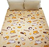 GK-O Neko Atsume Blanket Cute Kitty Cats Pattern Coral Fleece Warm Soft Lap Robe L (200 x 150cm / 78 x 59'')