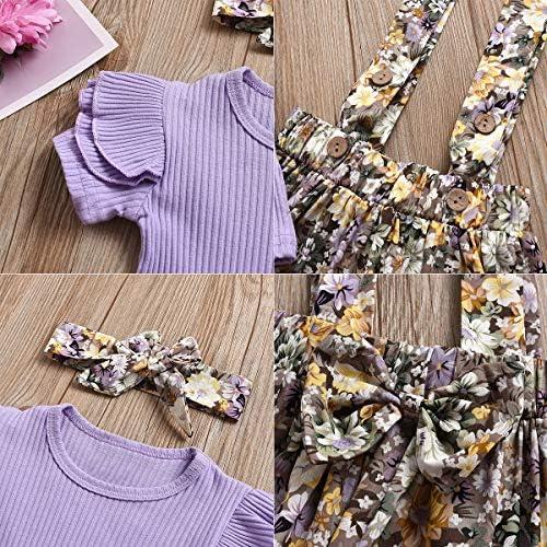 DaMohony Baby M/ädchen Rock Outfits kurz/ärmlig R/üschen Streifen Tops Strapsrock Stirnband 3-teilig M/ädchen Kleidung Set