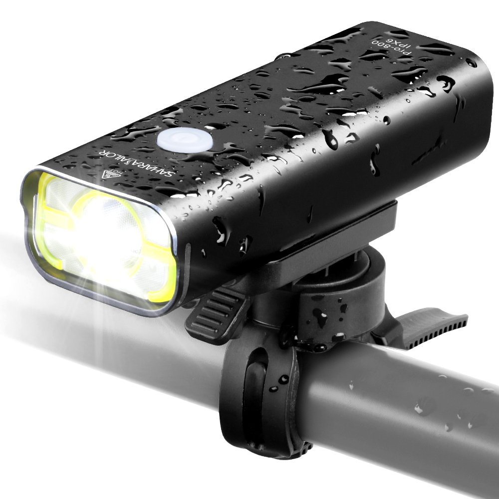 Sahara Sailor Front Bike Light USB Rechargeable – Super Bright 800 Lumens Aluminum Alloy IPX6 Waterproof Bicycle Light Supports Wired Remote Control – Fits ALL Bicycles, Road, MT