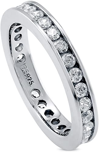 AINUOSHI 3.5mm Round Cut Sterling Silver Eternity Band Cz Engagement Ring Zirconia Wedding Band Platium Plated Size 4 to 10
