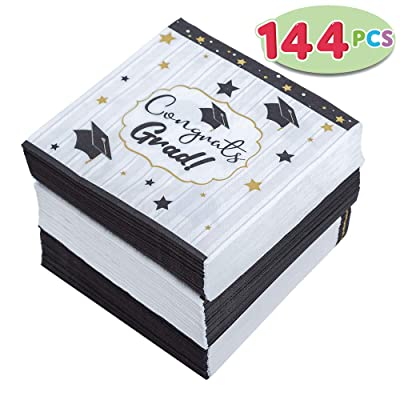 JOYIN 144 Graduation Party Supplies Napkins Graduation Party Accessories Supplies Graduation Party Favors (6.5X6.5 Inches): Toys & Games