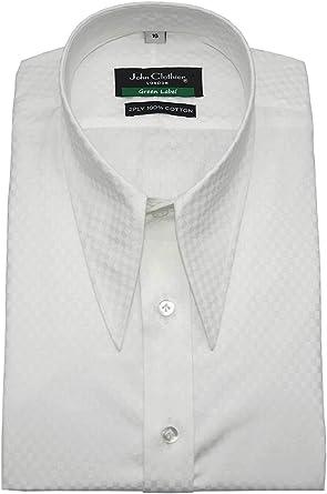 Lanza larga punto daga vintage cuello camisa blanca algodón ...