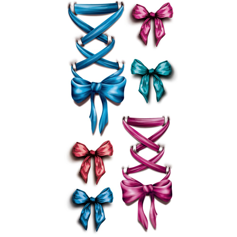 TAFLY Temporary Tattooing 3D Legs Pink Ribbon Bow Fake Tattoo Waterproof Sticker 5 Sheets 3D-07