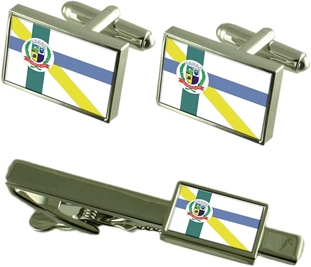 Embu-Guacu City Sao Paulo State Flag Cufflinks Tie Clip Box Gift Set