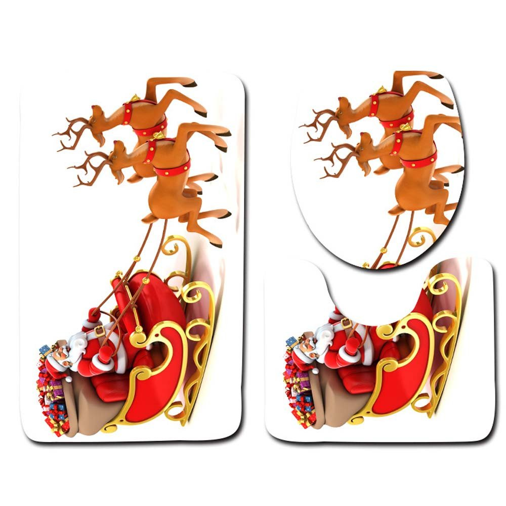 MatureGirl Christmas Bathroom Rug Mat - Bath Mat Carpet - Non-Slip Fancy Santa Bath Mat Bathroom Kitchen Carpet Doormats, Toilet Seat Cover and Rug - Christmas Carpet Mats (G)