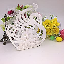 Joinwin® 50pcs Laser Cut swan wedding Favor Box Pearl color candy box birthday party decorations kids baby shower box party decoration