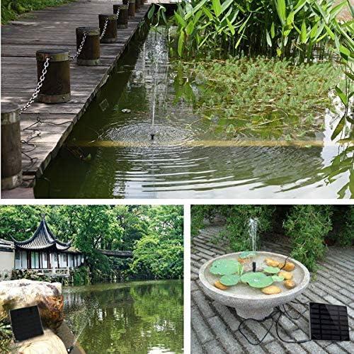OhhGo Solarbetriebene Springbrunnenpumpe 1. 4-W-Solarpanel-Wasserpumpen-Kit mit 4 Spay-Köpfen für Die Wasserzirkulation im Teichvogelbad