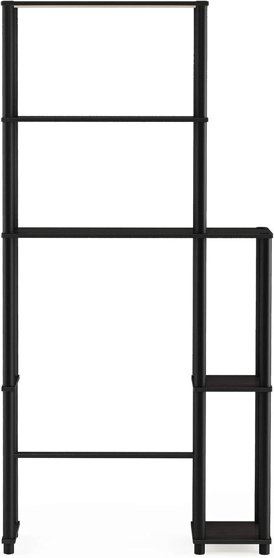 FurinnoTurn-N-Tube with 5 Shelves Toilet Space Saver, Espresso/Black