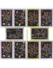 HEALLILY Scratch Rainbow Art Scratch Paper Art Notes Paper Combo Art Doodle Pad Notebooks for Children 10PCS (Random Style)