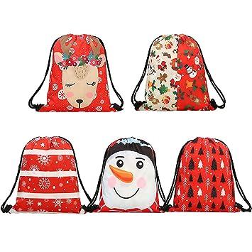 Amazon.com: iShyan bolsas de regalo de Navidad con cordón, 5 ...