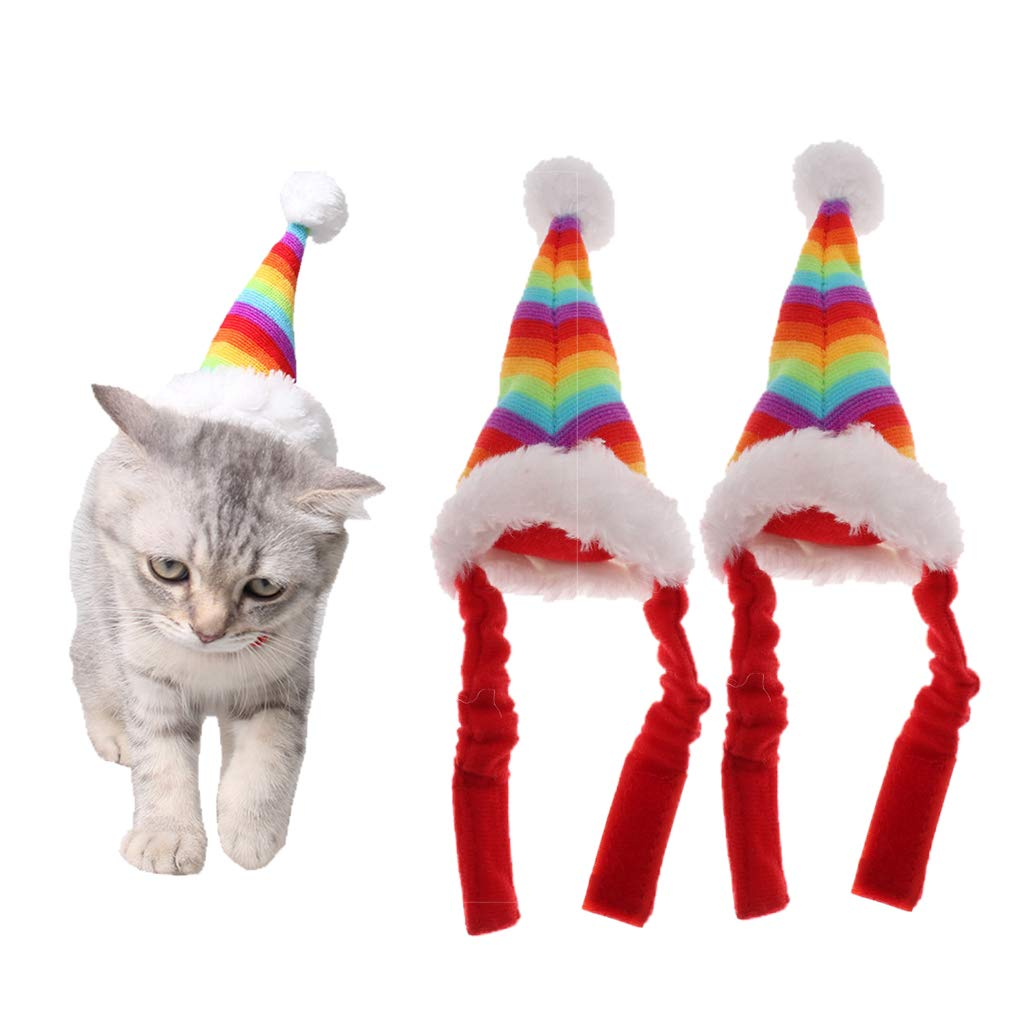 Perfeclan 2x Hamster Wearing Christmas Hat Gerbil Xmas Hat Cat Rainbow Santa Hats