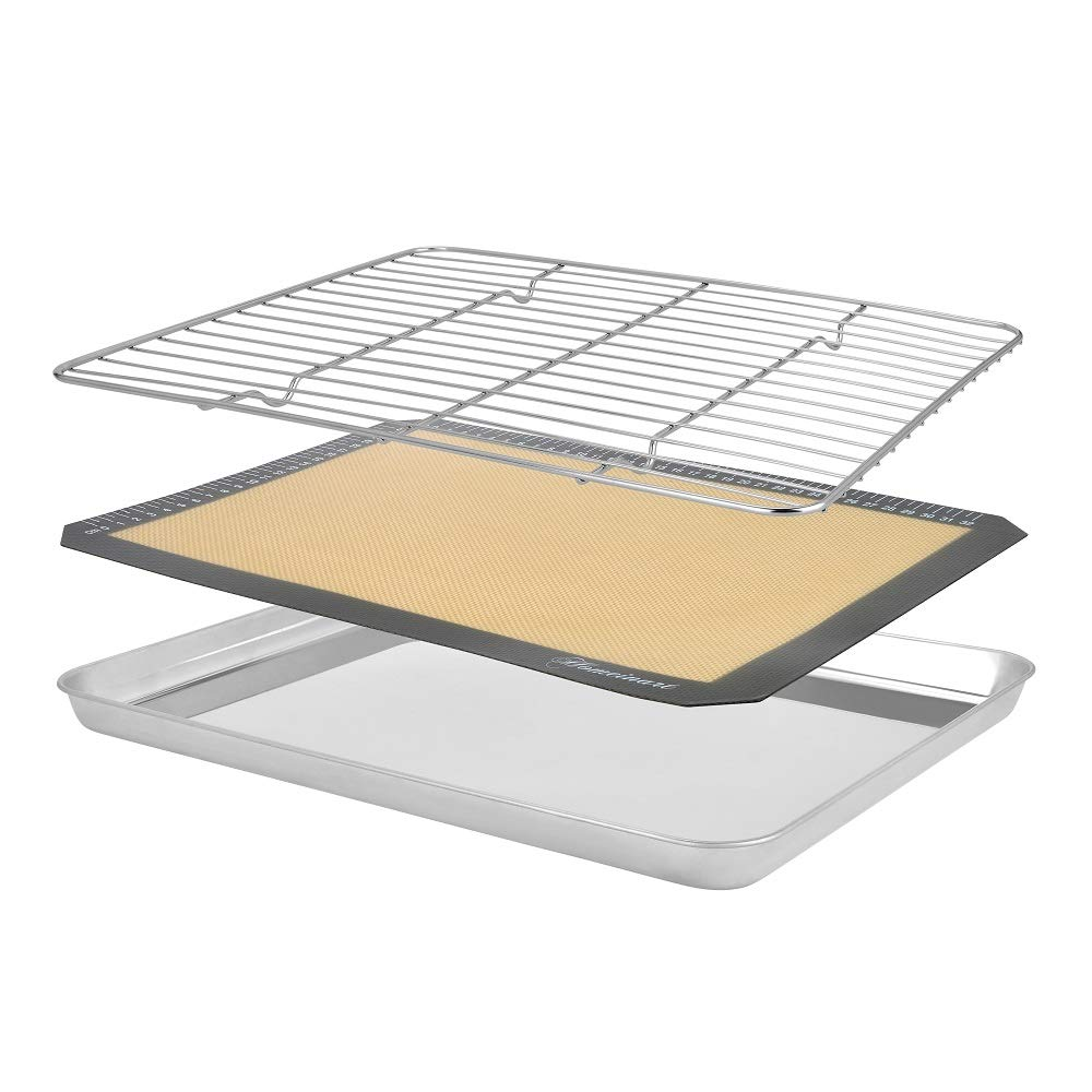 Baking Sheet Pan with Rack and Baking Mat Set, Stainless Steel Cookie Sheet with Cooling Rack & Silicone Mat, 16X12x1 inch, Non Toxic & Easy Clean & Rust Free & Dishwasher Safe
