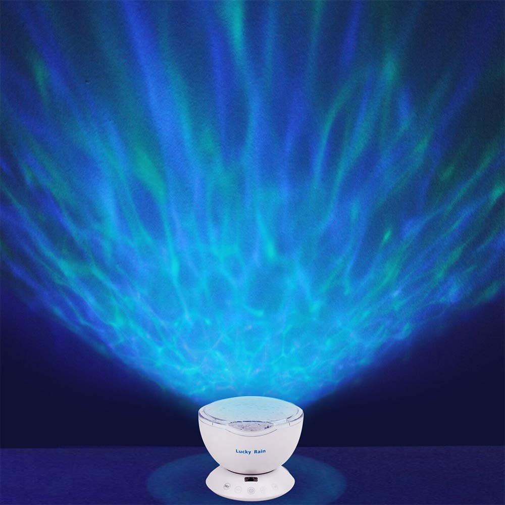 Ocean Wave Night Light Projector with Music Player Romantic Color Changing LED Party Decorations Projection Lamps Mood Lighting For Living Room Bedroom