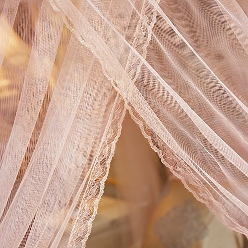 Mengersi 4 Corners Bed Curtain Canopy Mosquito Netting For Girls Bed Canopies Child Gift (Queen, Peach) by Mengersi (Image #4)