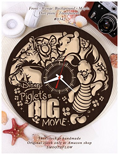 Wooden clock Piglet's Big Movie/Disney clock wooden W0342/Modern clock/Disney gift/Winnie the Pooh clock/Wooden clock (Wenge-Maple)
