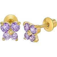 18k Gold Plated Crystal Butterfly Girl Children Screw Back Baby Earrings