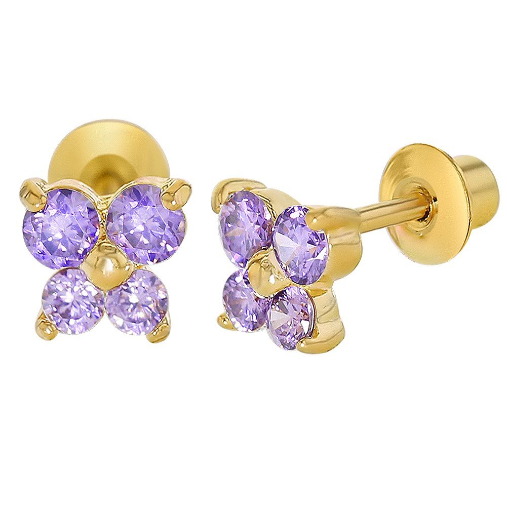 18k Gold Plated Purple Crystal Butterfly Girl Baby Toddlers Screw Back Earrings In Season Jewelry 03-0766