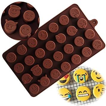Emoji - Molde de silicona para tartas, chocolate, gelatina, cubitos de hielo: Amazon.es: Hogar