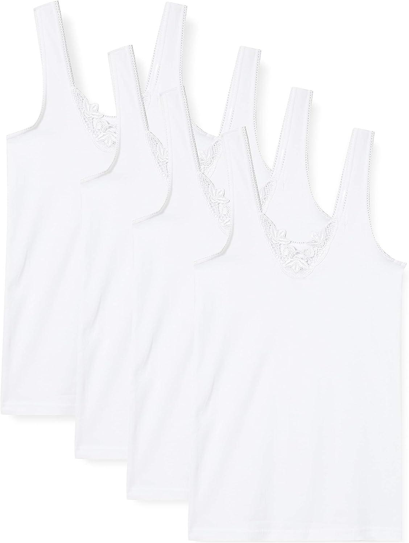100/% Baumwolle Feinripp Yenita 4 st/ück Damen Unterhemden mit Spitze