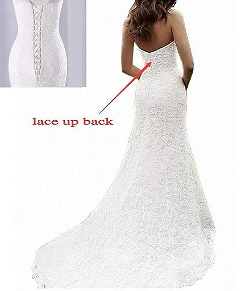 SIQINZHENG Womens Sweetheart Full Lace Beach Wedding Dress Mermaid Bridal Gown