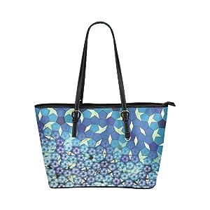Women's Leather Large Tote HandBag Rhombus Pattern Shoulder Bag