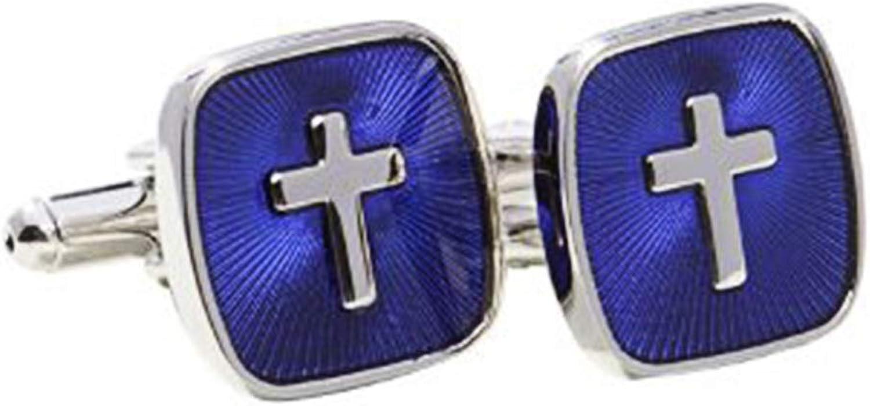 Digabi Men's Jewelry Cross Shape Design 18K Platinum Plated Highly Recommend Cufflinks Cuff for Men Color Sliver