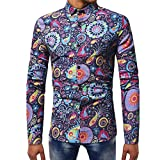 Mens Shirts Clearance WEUIE Mens Fashion Printed Blouse Casual Long Sleeve Slim Shirts Tops (XL, Navy)