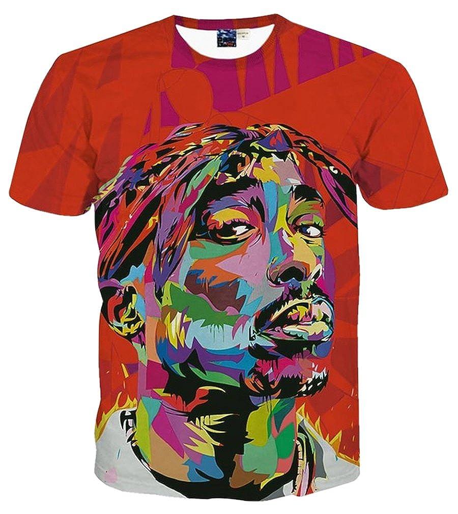 c6530660f Amazon.com: Doxi Men's Hiphop Tupac 2pac Shakur Rap 3d Printed T-Shirt Red  Clothing Casual Tees Tops: Clothing
