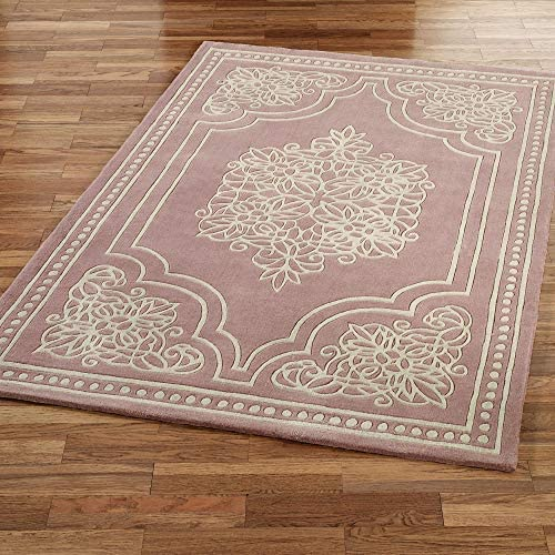 Feizy Import Keepsake Lace Rectangle Rug Dusty Mauve