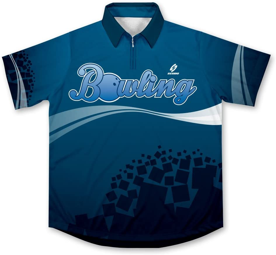 Blue Bowling Jersey Camisa de Bolos