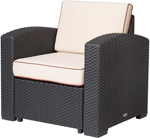 Lagoon Magnolia Black_Rattan Club Chair W/Beige Cushion