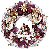 Thomas Kinkade Christmas Blessings Illuminated Wreath With Angels And Nativity Scene by The Bradford Exchange