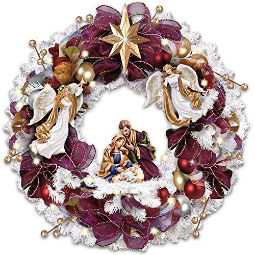 Thomas Kinkade Christmas Blessings Illuminated Wreath Wit...