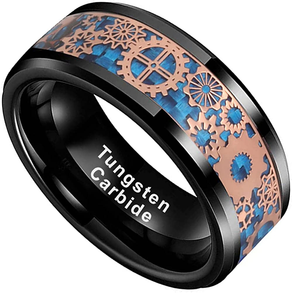 Wedding Band Steampunk Gear Ring on Tungsten Carbide Engagement