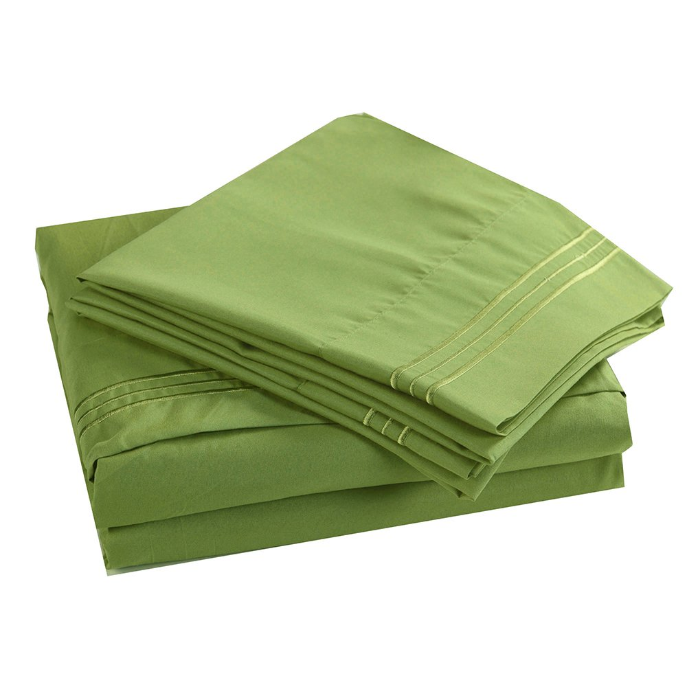 4PC Bedding Sheet Set, Sheet & Pillowcase Sets - Queen, Lime Green
