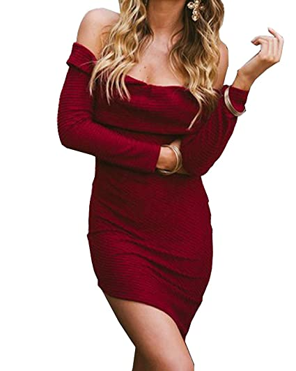 b8c78bcfd78 Tuesdays2 Womens Sexy Off Shoulder Long Sleeve Mini Pencil Bodycon Knitted  Sweater Dress at Amazon Women s Clothing store