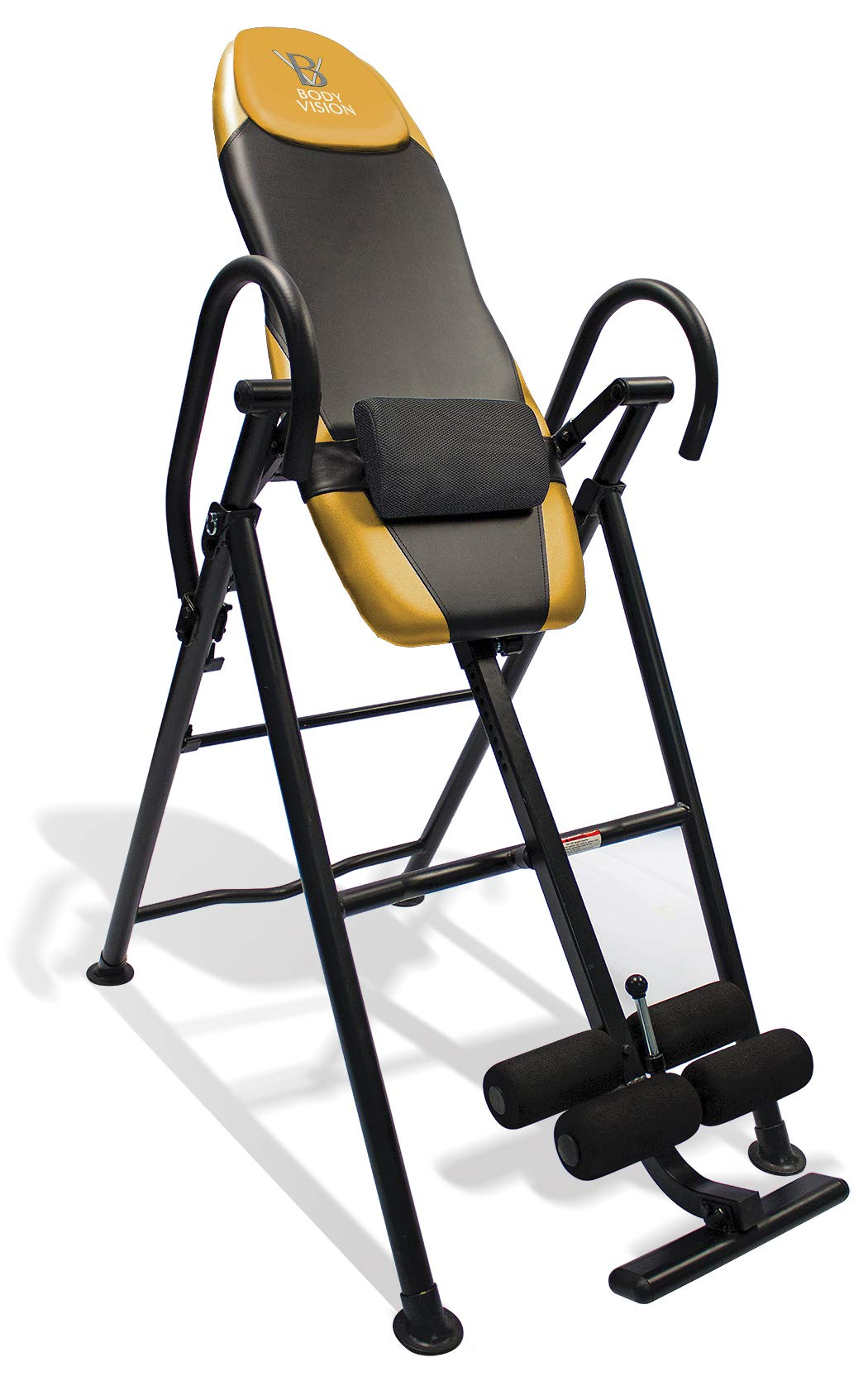 Body Vision IT9550 Deluxe Inversion Table with Adjustable Head Pillow & Lumbar Support Pad, Yellow - Heavy Duty up to 250 lbs